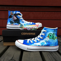 Pokemon Converse Piplup Empoleon Hand Painted High Top Shoes Canvas Sneaker All Star Shoes for Men Women