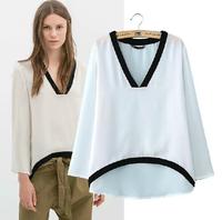 New 2014 Hot Sale Fashion Summer New Patchwork Slim full V-Neck Cotton T-Shirt Women  Free shipping TS0017