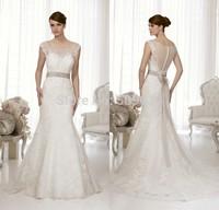 Custom Made 2014 robe de mariage Mermaid Wedding Dresses See Though Sexy Wedding Dress 2014 Lace Wedding Dress