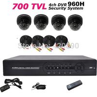 4 CH DVR Kit 1080P HDMI 960H  DVR Recorder IR Dome DVR System Kit