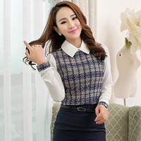 Free Shipping, 2014 New arrival, Women Female OL Slim Puff Sleeve Long-Sleeve Chiffon Shirt Blouses, Plus size S-3XL, 2 Colors