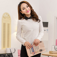 Free Shipping, 2014 New arrival, Women Female OL Slim Puff Sleeve Long-Sleeve Chiffon Shirt Blouses, Plus size S-2XL, White