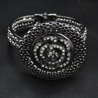 Wholesale Bangle 2014 New Hot Sale Europe Jewelry Clear Rhinestone Flower Bangle Vintage Jewelry Luxury Women Cuff  Bracelet