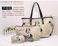The new fashion cute cartoon beauty three pieces set of single shoulder bag handbag handbag oblique cross