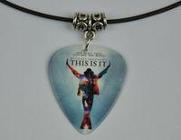 5Pcs Michael Jackson Medium 0.71mm Guitar Pick Necklace , Tibetan Silver Pendant Leather Cord J-2