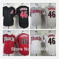 Free Shipping Mens Arizona Diamondbacks #46 Patrick Corbin Black White Red Gray Cool Base Jerseys Embroidered Logo size 48-56