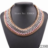 Fashion Brand 2014 New Design Bohemian Braided  Statement Necklace for Women Autumn Jewelry