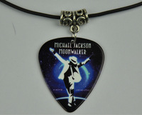 5Pcs Michael Jackson Medium 0.71mm Guitar Pick Necklace , Tibetan Silver Pendant Leather Cord J-5