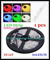 Free Shipping 1 pcs 12V 5M Non Waterproof SMD 3528 300 LED 60 LED / M LED Single Color Strip Light Flexible led Strip RGB Light