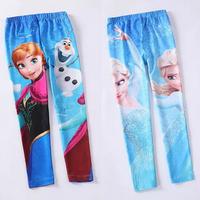 2014 new Frozen girls spring/autumn render pants, children's cartoon tight pants, cotton kind of blended children's pants