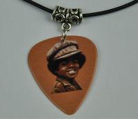 5Pcs Michael Jackson Medium 0.71mm Guitar Pick Necklace , Tibetan Silver Pendant Leather Cord J-9