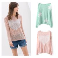 Factory 2014 new winter women's fashion loose big yards ladies knit tops sweet peach heart print sweater pullover women (EG13)
