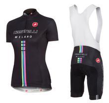 2014 Brand New Castelli Black Yellow Women Team Cycling Jersey Bicycl Clothings and Bib Shorts Monton Clothing Size 2XS To 6XL(China (Mainland))