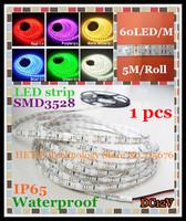 Free Shipping 1 pcs 12V 5M IP65 Waterproof Epoxy SMD 3528 300 LED 60 LED / M LED Strip Light Flexible led Strip RGB  Led Light