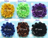 "Free ePacket/CPAP 30y/lot 14 colors 2.5"" glitter shabby chiffon flower trim,chic frayed headband flower,hairaccessories"