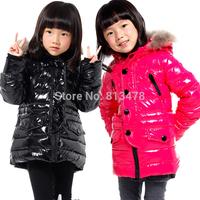 GXF raccoon fur glossy child down coat waterproof disposable boys girls kids down jackets coats children winter outwear