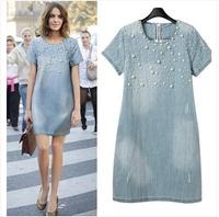 (WDR003) 2014 Women's Fashion Water Wash Denim  Beading Loose Short-Sleeve Dress Female S-5XL