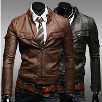 Free shipping Hot 2014 fashion stand-collar high-quality brand men's leather jacket coat