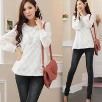 Free Shipping Large Size Women's Autumn New Elegant Lace Chiffon Shirt Collar Long-sleeved Women Blouses,S M L XL 2XL 3XL