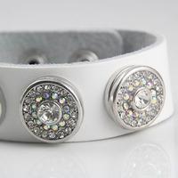 Min order $10 fashion wholesale Silver Snap socket full rhinestone white button Charm Snap Style leather Bracelet For Women