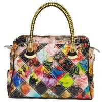 Wholesale 2014 new genuine leather handbag Stitching handbag shoulder inclined shoulder bag Patent leather flower handbags