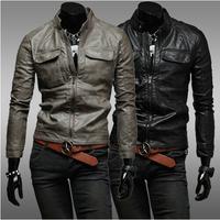 New 2014 men 's zipper leather jackets men joker cultivate one' s morality men 's fur coat / male pu jacket