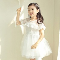 Free shipping white 2014 new Children's lace summer ball gowns dress Kids summer wedding lace dress Princess lace summer dress