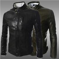 High quality! 2014 new men's leather jacket Korean catwalks shall Slim leather jacket PU high quality 2 color 4 size hot sale