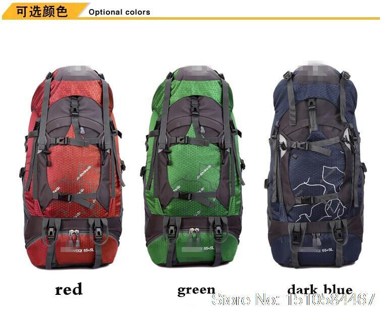 L'arrivée de nouveaux mode 2014 sac de randonnée imperméable à l'eau en plein air camping sac en nylon backpakck 60l capacité