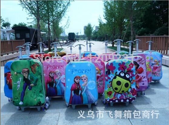 Pulgadas 16 equipaje bolsas de viaje para los niños de la carretilla impreso bolsas de ruedas congelados, hello kitty, de dibujos animados secuaces bolsas de viaje para los niños