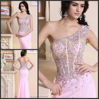 Luxury One-Shoulder Backless Trumpet Mermaid Crystal Vestido Prom Celebrity Evening Formal Party Dress Bridal Gown(XNE-ED095)
