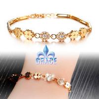 Grace Jewelry COPPER Alloy 18K Gold Plated with CZ stone Miss flower women men Bracelets WEDDING Acessories GIFT GG410