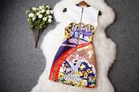 2014 New Casual Sleeveless Slim Women Dress Vintage Palace Print Flower Jacquard Elegant Catwalk Celebrity Dresses Hot Sale