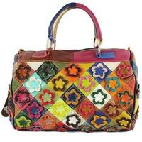 Wholesale 2014 new genuine leather handbag Stitching leather flowers Portable oblique satchel,women messenger bags,women hangbag