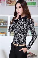 New Plus Size XXXL Elegant Black Fashion Slim Autumn Fall Work Wear Blouses Formal Cotton Lace Shirts Blouses For Office Ladies