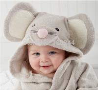 Cotton hooded bathrobe bathrobe little mouse baby bath towel absorbent toweling bathrobes lovely towels