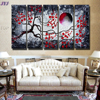 Red Color Life Tree  Handmade Modern Abstract Oil Painting  Canvas  Wall Art Painting For Living Room Home Decoration JYJHS141