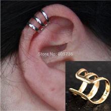 2pcs New Punk Rock Ear Clip Cuff Wrap Earrings No piercing-Clip on Silver Gold Bronze Women Men Party Jewelry Cheap Free Ship(China (Mainland))