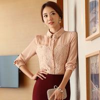 Free Shipping, 2014 Autumn New arrival, Women Female OL Slim Long-Sleeve Chiffon Shirt Blouses, Plus size S-3XL, 3 Colors