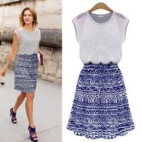 Circleof 2014 women's lacing print short-sleeve dress medium