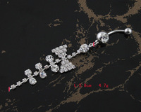 60PC/Lot BJ00357  Free Shipping rhinestone bow belly button navel ring piercing body accessories