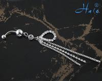 60PC/Lot BJ00364 Free Shipping rhinestone women drop navel ring piercing body jewelry
