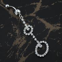 60PC/Lot BJ00368 Free Shipping rhinestone stainless steel jewelry piercing ombligo dangle belly button ring