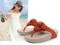 Free shipping women sandals 2014 flowers wedges summer sandals for women platform beach flip flops platform sandals women shoes