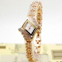 Alloy Crystal Quartz Watches Rhombus Bracelet Bangle Women's Vintage Design Wrist Watch Rose Golden New Fashion 15284