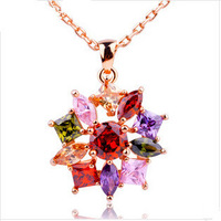 Luxury 18K Gold Plated Star Pendant Necklace with Multicolor Zircon For Women Party Bijouterie  N525
