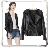 2014 New Fashion Women Winter Brand Faux Motorcycle Leather Jacket PU Short Coat Zipper Pocket Slim Ruffle Cocktail Outerwear