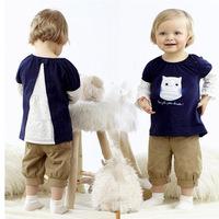 5pcs/lot spring baby girls spring /summer clothing set. owl pattern printed shirt + pant long sleeve kid girl bowknot blouse
