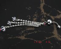 60pc/lot BJ00396 Free Shipping rhinestone belly ring dangle piercing set body chain silver