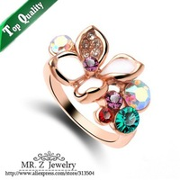 Aneis 18K Gold Plated Enamel Colorful Elegant Flower Womens Rings With Austrian Crystal Free Shipping